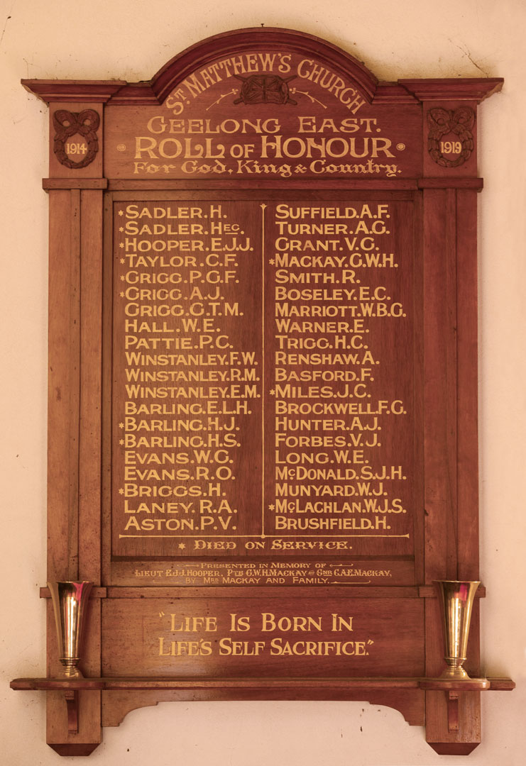 St. Matthew's Church Geelong East Roll of Honour