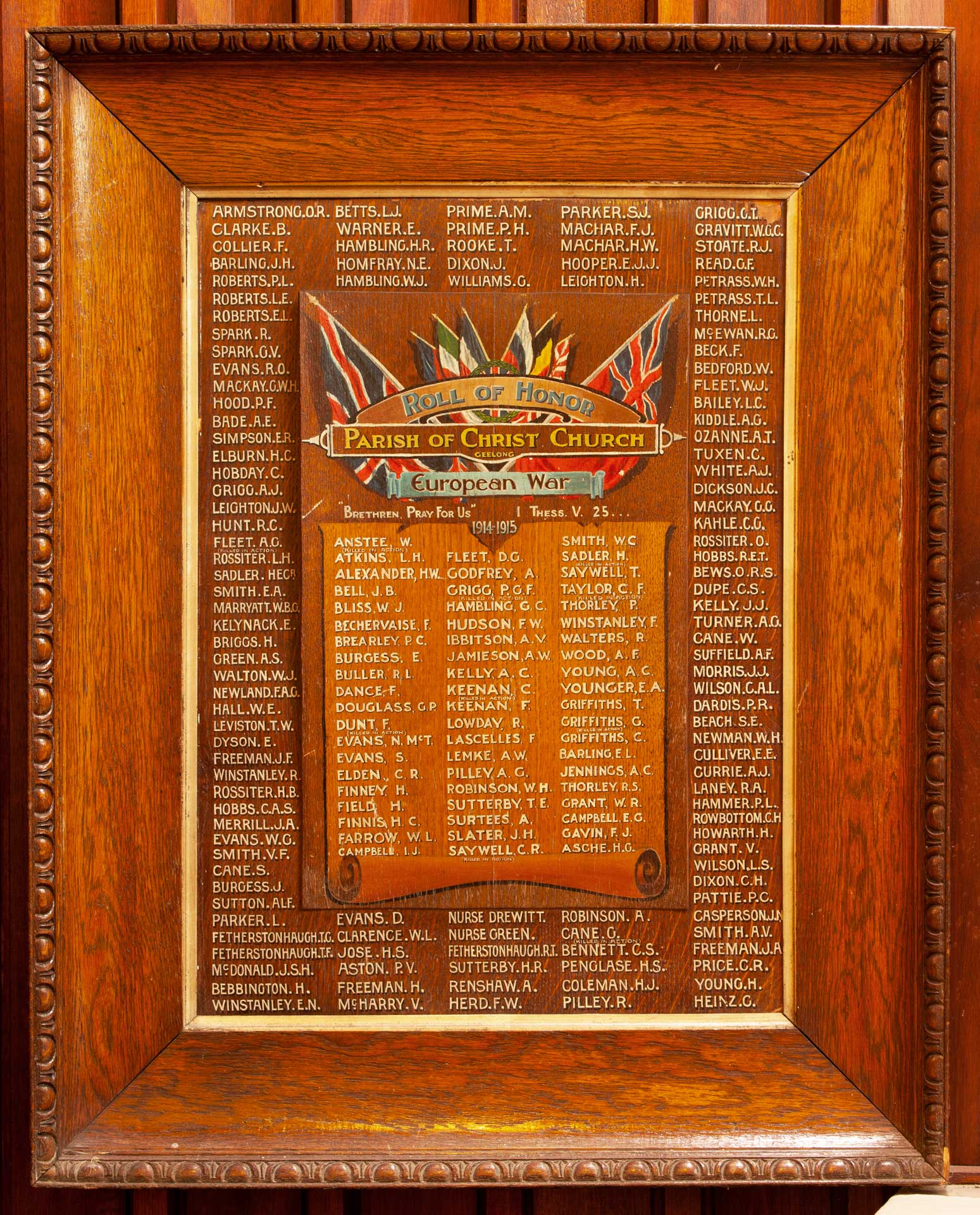 Parish of Christ Church Geelong Roll of Honor