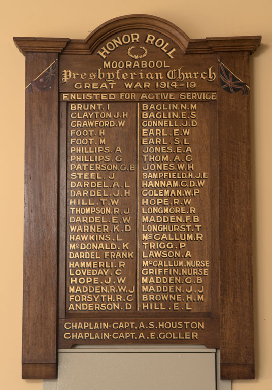 Moorabool Presbyterian Church Honor Roll