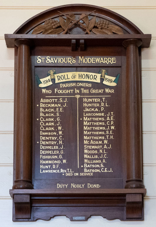 St Saviour's Modewarre Parishioners Roll of Honor