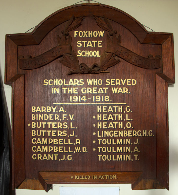 Foxhow State School Scholars Roll of Honour