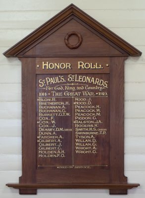 St Paul's Anglican Church St Leonards Honor Roll