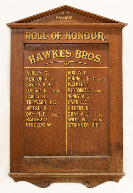 Hawkes Bros Employees Roll of Honour