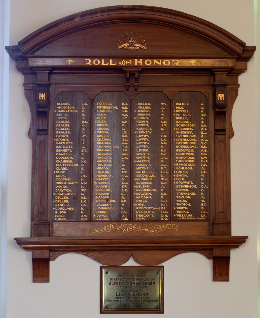 Noble Street Methodist Church Roll of Honor